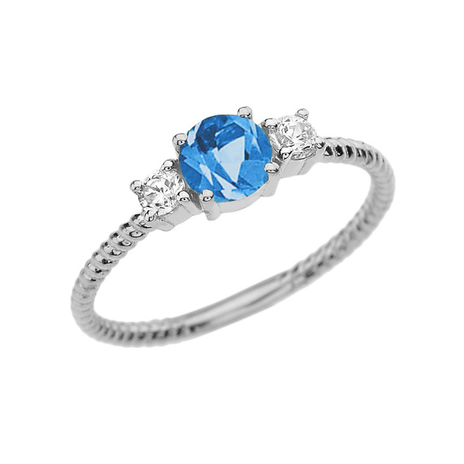 Dainty White Gold Blue Topaz and White Topaz Rope Design Engagement/Promise Ring