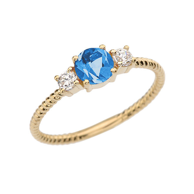 Dainty Yellow Gold Blue Topaz and White Topaz Rope Design Engagement/Promise Ring