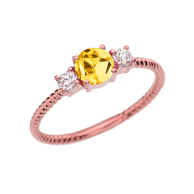 Dainty Rose Gold Citrine and White Topaz Rope Design Engagement/Promise Ring