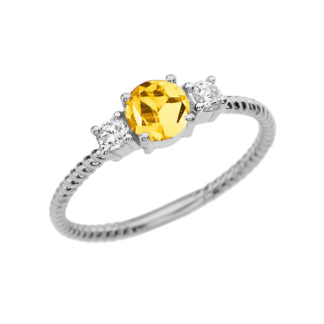 Dainty White Gold Citrine and White Topaz Rope Design Engagement/Promise Ring