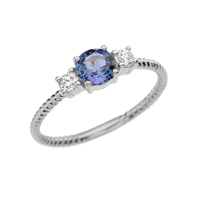 Dainty White Gold Alexandrite and White Topaz Rope Design Engagement/Promise Ring