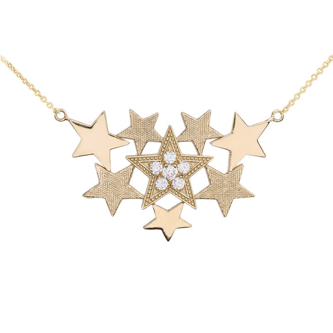 Yellow Gold Stars Necklace With Cubic Zirconia