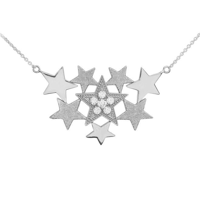 White Gold Stars Necklace With Cubic Zirconia