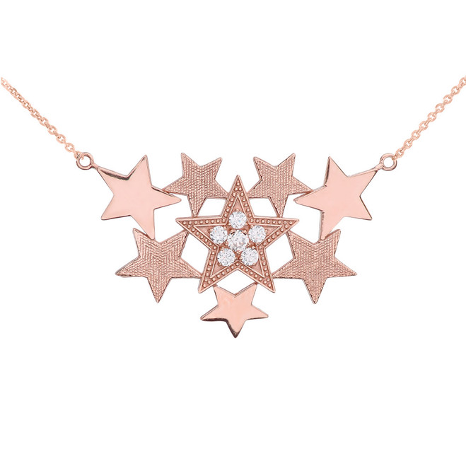 Rose Gold Stars Necklace With Cubic Zirconia