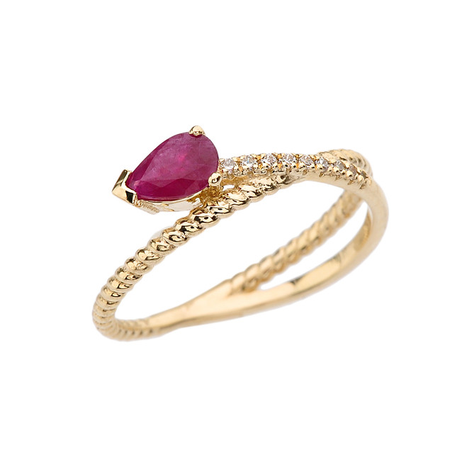 Yellow Gold Criss-Cross Ruby Rope and Diamonds Designer Ring