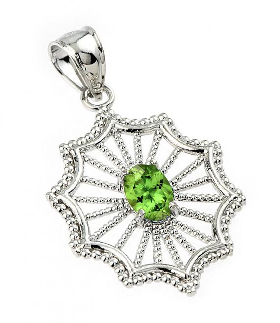 Sterling Silver Beautiful Modern Filigree Peridot Birthstone Pendant Necklace