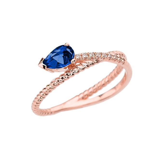Rose Gold Criss-Cross Sapphire Rope and Diamonds Designer Ring