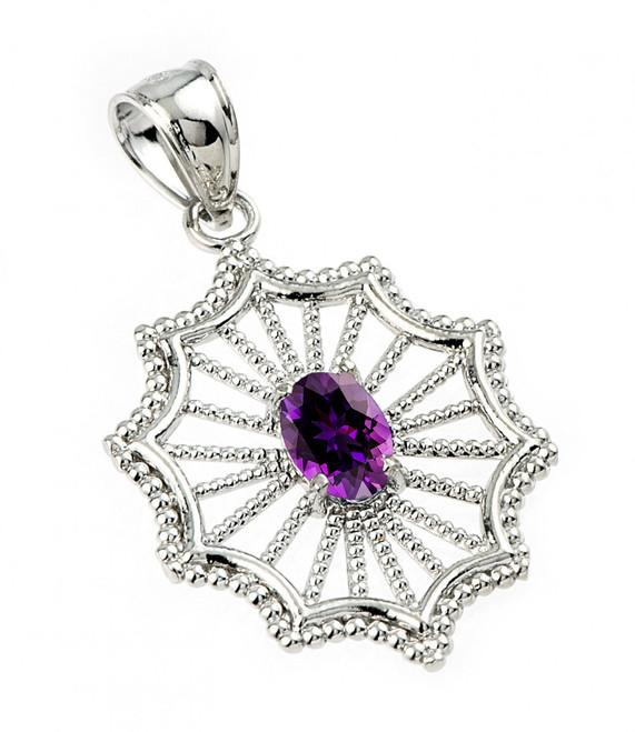 Sterling Silver Beautiful Modern Filigree Amethyst Birthstone Pendant Necklace