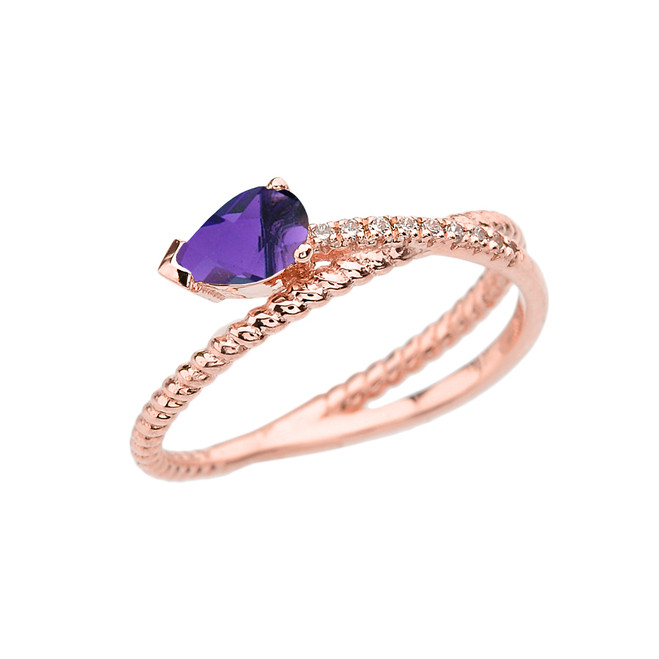 Rose Gold Criss-Cross Amethyst Rope and Diamonds Designer Ring