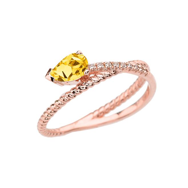 Rose Gold Criss-Cross Citrine Rope and Diamonds Designer Ring