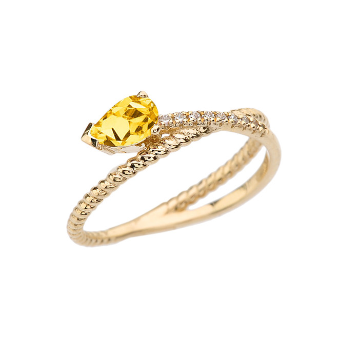 Yellow Gold Criss-Cross Citrine Rope and Diamonds Designer Ring