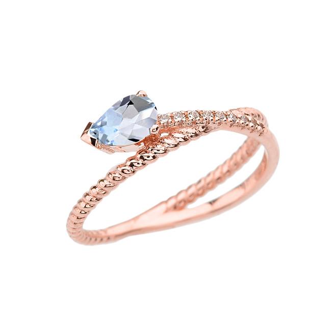 Rose Gold Criss-Cross Aquamarine Rope and Diamonds Designer Ring