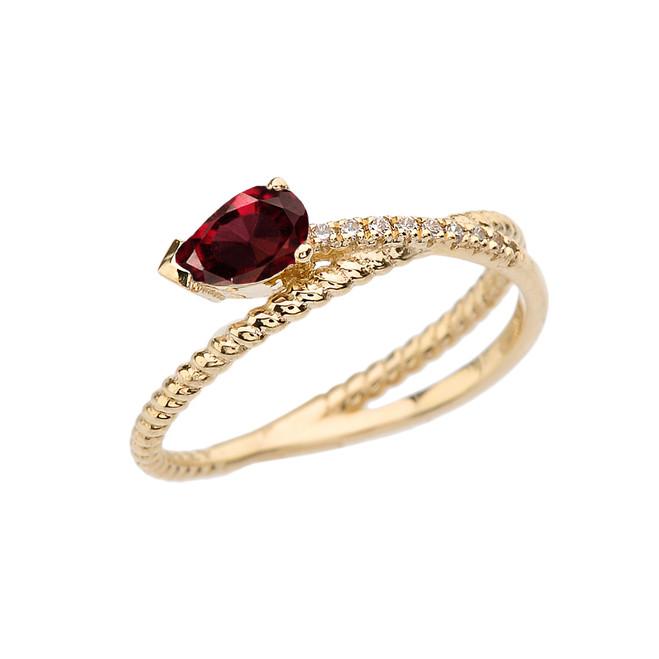 Yellow Gold Criss-Cross Garnet Rope and Diamonds Designer Ring