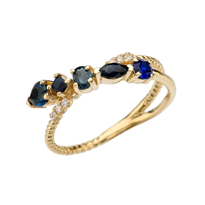 Yellow Gold Criss-Cross Waterfall Mix Color Genuine Sapphires and Diamonds Designer Ring