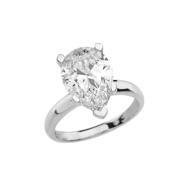 White Gold Pear Shape CZ Engagement/Proposal Solitaire Ring