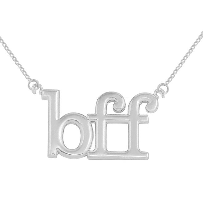 14k Solid White Gold BFF Best Friends Forever Sideways Pendant Necklace