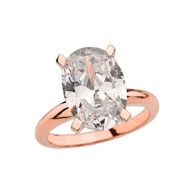 Rose Gold Oval Shape CZ Engagement/Proposal Solitaire Ring