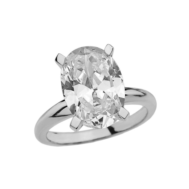 White Gold Oval Shape CZ Engagement/Proposal Solitaire Ring