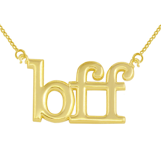 """Solid Yellow Gold BFF Best Friends Forever Sideways Pendant Necklace (0.79"""" )"""
