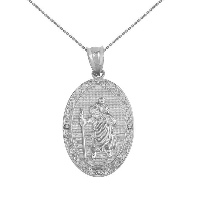 "Solid White Gold Saint Christopher Medallion Diamond Pendant Necklace ( 1"")"