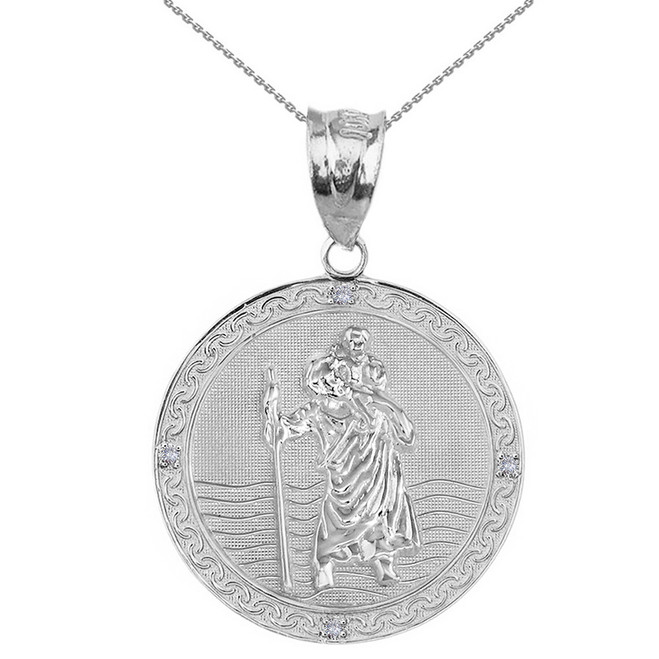 "Sterling Silver Saint Christopher Medallion Circle CZ Pendant Necklace ( 1.16"")"