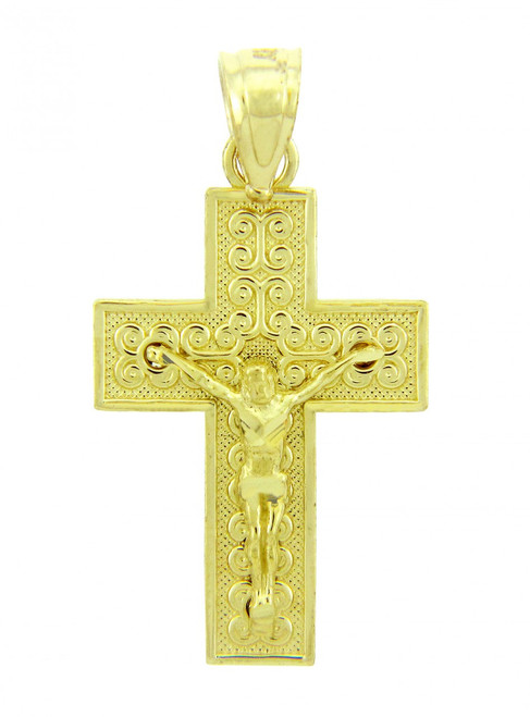 Yellow Gold Crucifix Pendant - The Adoration Crucifix