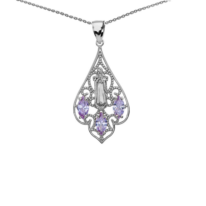 Sterling Silver Our Lady of Guadalupe Filigree Two-Tone Pendant Necklace With Lavender CZ
