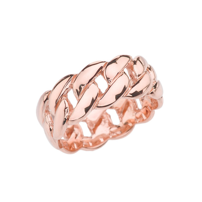 Rose Gold 8 mm Cuban Link Ring Band