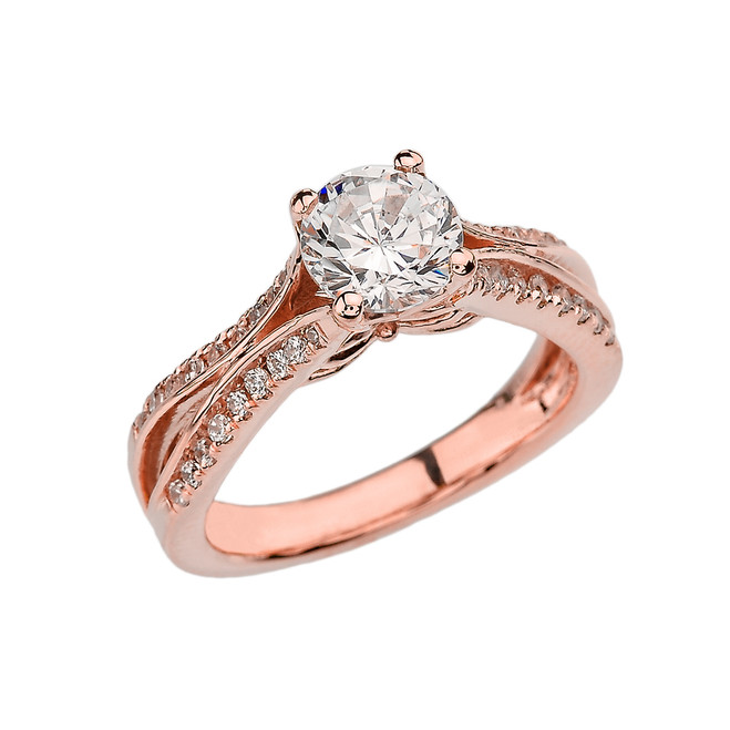 Rose Gold Double Raw CZ Proposal/Engagement Ring With Cubic Zirconia Center Stone