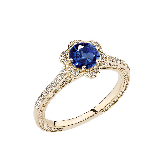 Sapphire and Diamond Yellow Gold Engagement/Proposal Ring