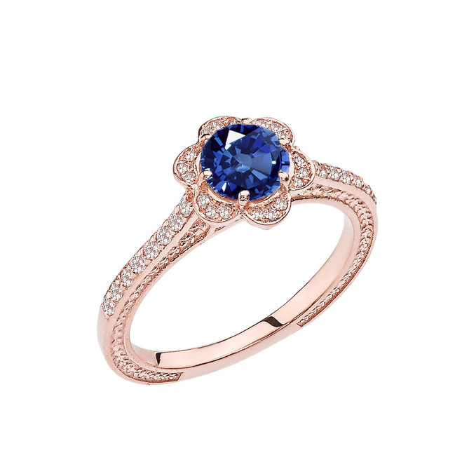 Sapphire and Diamond Rose Gold Engagement/Proposal Ring