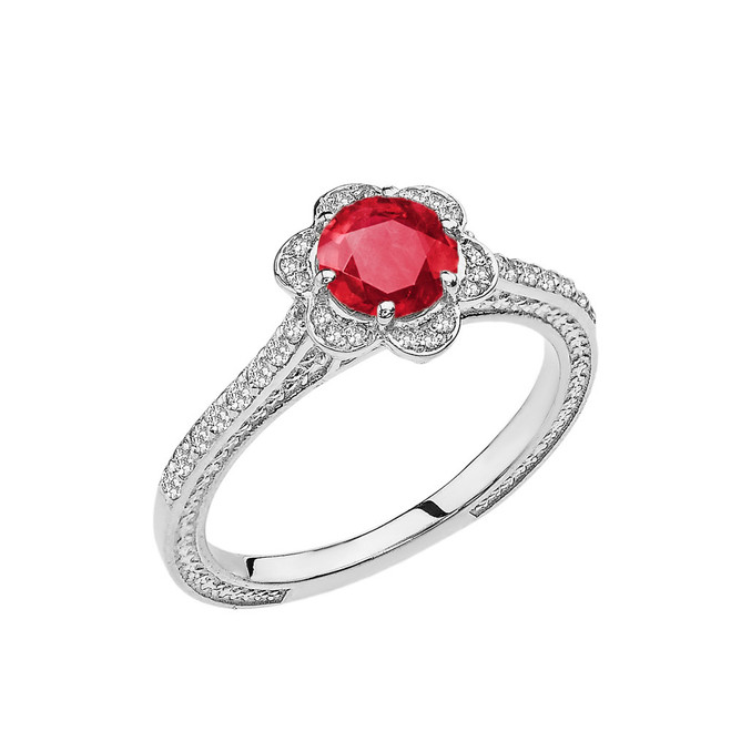 Ruby and Diamond White Gold Engagement/Proposal Ring