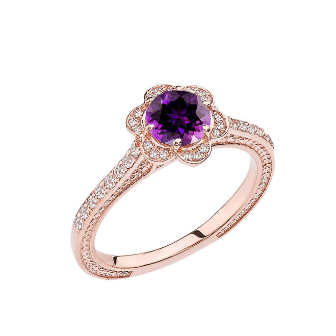 Amethyst and Diamond Rose Gold Engagement/Proposal Ring