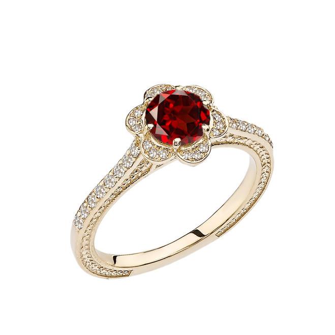 Garnet and Diamond Yellow Gold Engagement/Proposal Ring