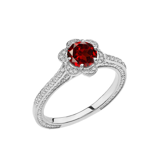 Garnet and Diamond White Gold Engagement/Proposal Ring