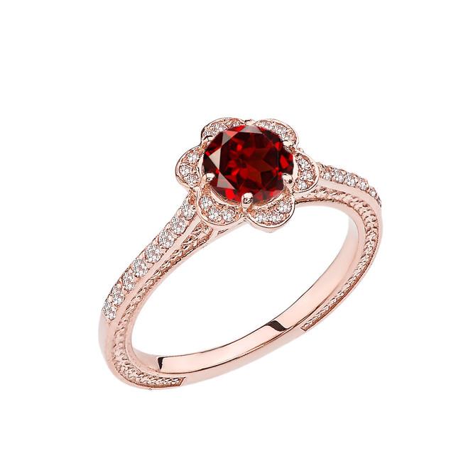 Garnet and Diamond Rose Gold Engagement/Proposal Ring