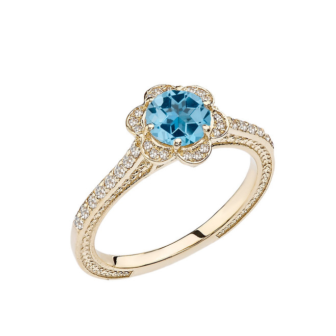 Blue Topaz and Diamond Yellow Gold Engagement/Proposal Ring