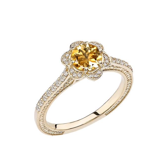Citrine and Diamond Yellow Gold Engagement/Proposal Ring