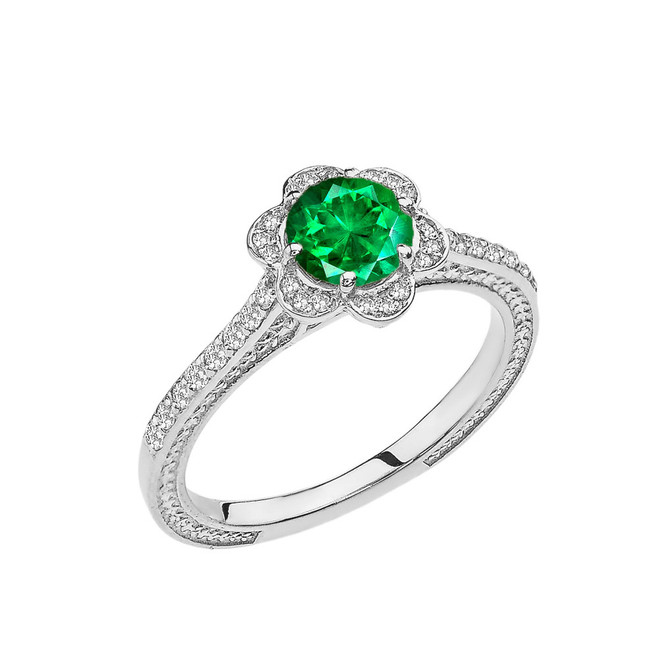 Emerald(LCE) and Diamond White Gold Engagement/Proposal Ring