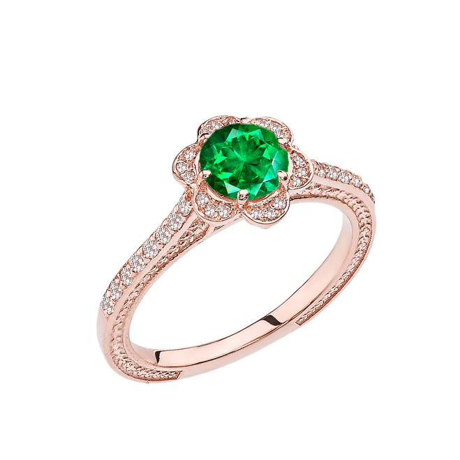 Emerald(LCE) and Diamond Rose Gold Engagement/Proposal Ring