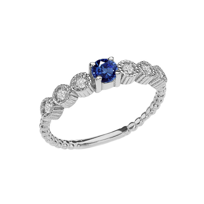 Diamond and Sapphire White Gold Stackable/Promise Beaded Popcorn Collection Ring