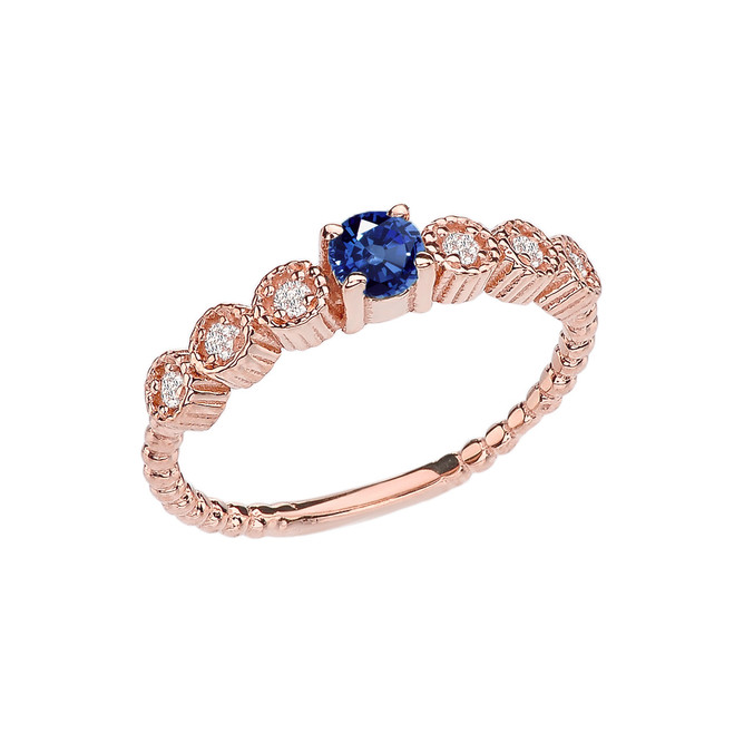 Diamond and Sapphire Rose Gold Stackable/Promise Beaded Popcorn Collection Ring