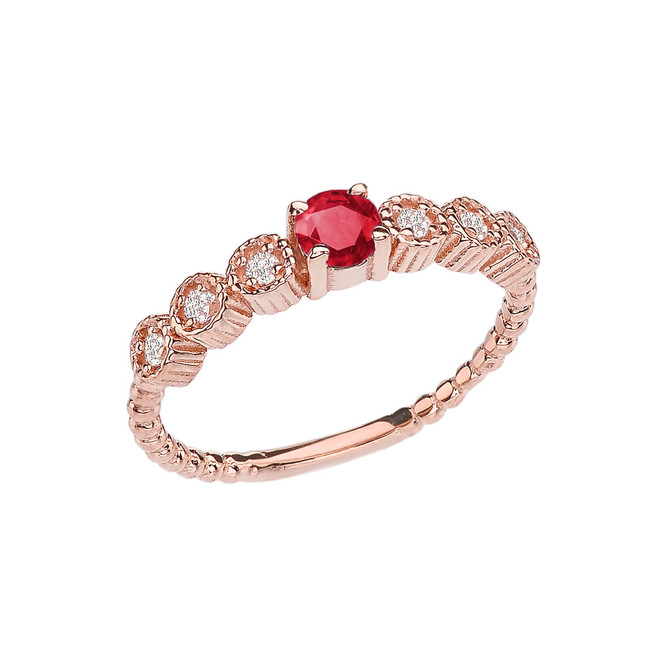 Diamond and Ruby Rose Gold Stackable/Promise Beaded Popcorn Collection Ring