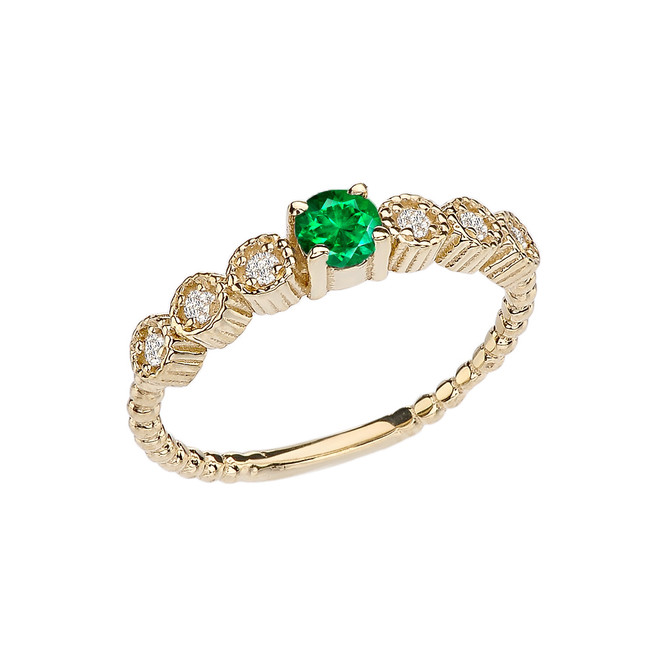 Diamond and Emerald(LCE) Yellow Gold Stackable/Promise Beaded Popcorn Collection Ring