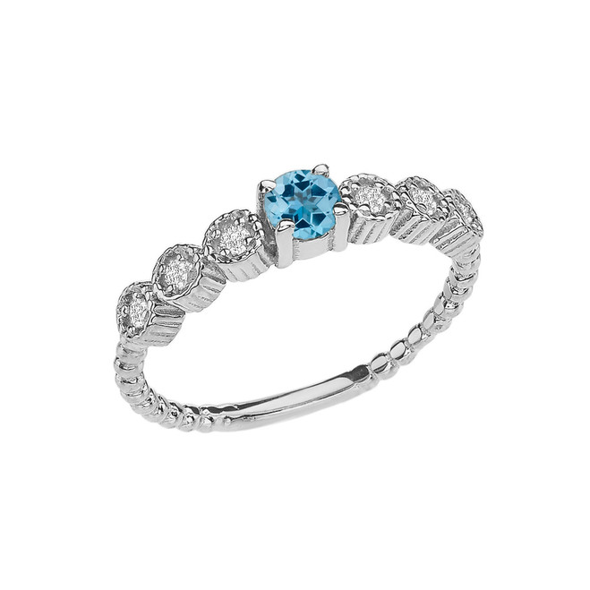Diamond and Blue Topaz White Gold Stackable/Promise Beaded Popcorn Collection Ring