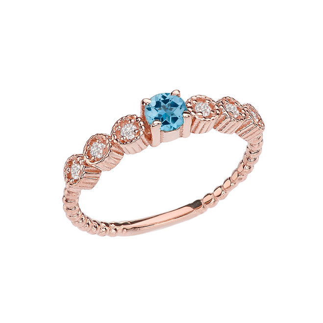 Diamond and Blue Topaz Rose Gold Stackable/Promise Beaded Popcorn Collection Ring