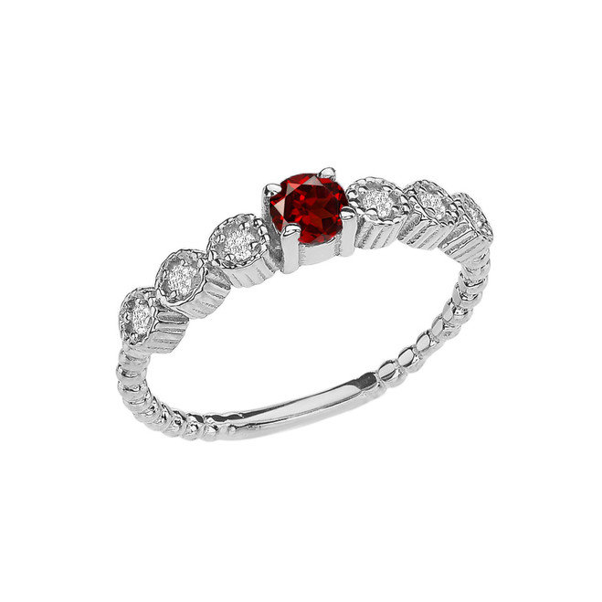 Diamond and Garnet White Gold Stackable/Promise Beaded Popcorn Collection Ring