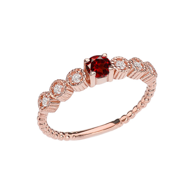Diamond and Garnet Rose Gold Stackable/Promise Beaded Popcorn Collection Ring