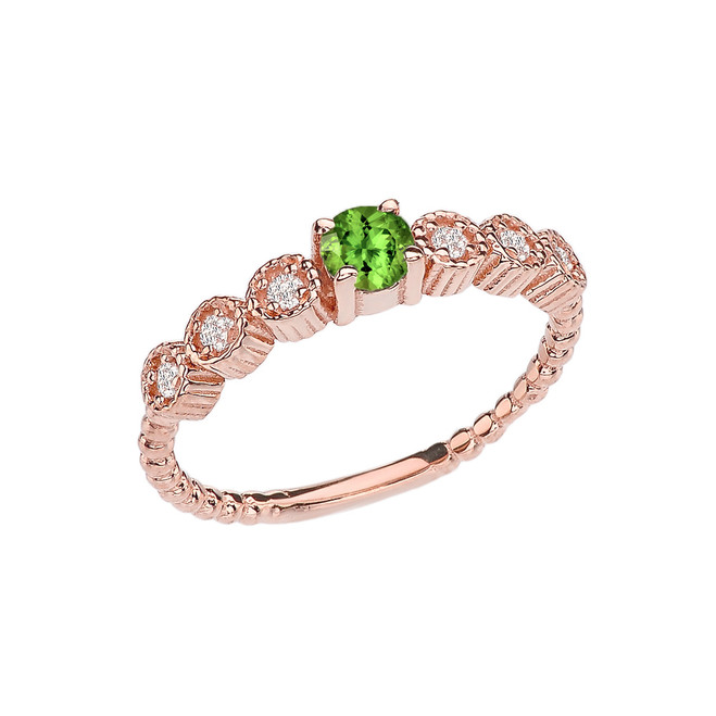 Diamond and Peridot Rose Gold Stackable/Promise Beaded Popcorn Collection Ring