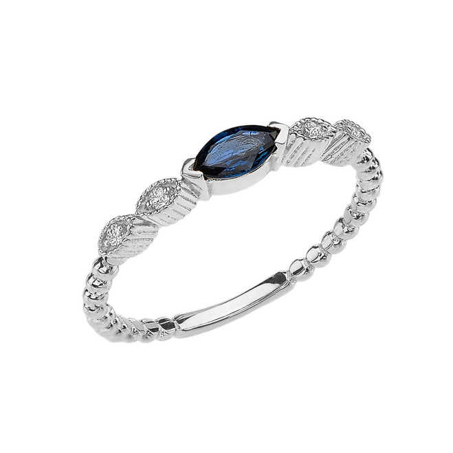 Sapphire and Diamond Marquise Cut Engagement/Proposal Beaded Ring in White Gold